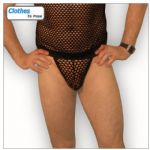 Mens G String - Black Mesh